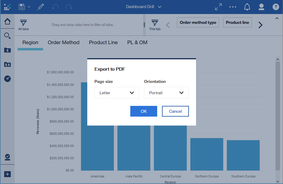 IBM Cognos Analytics R10 export a dashboard to PDF